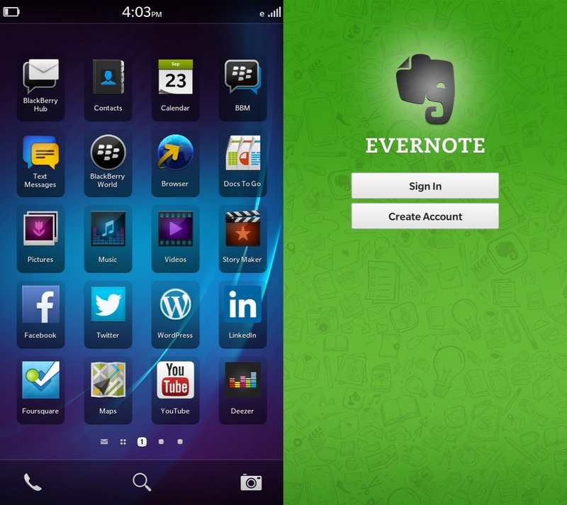 evernote native bb10 app