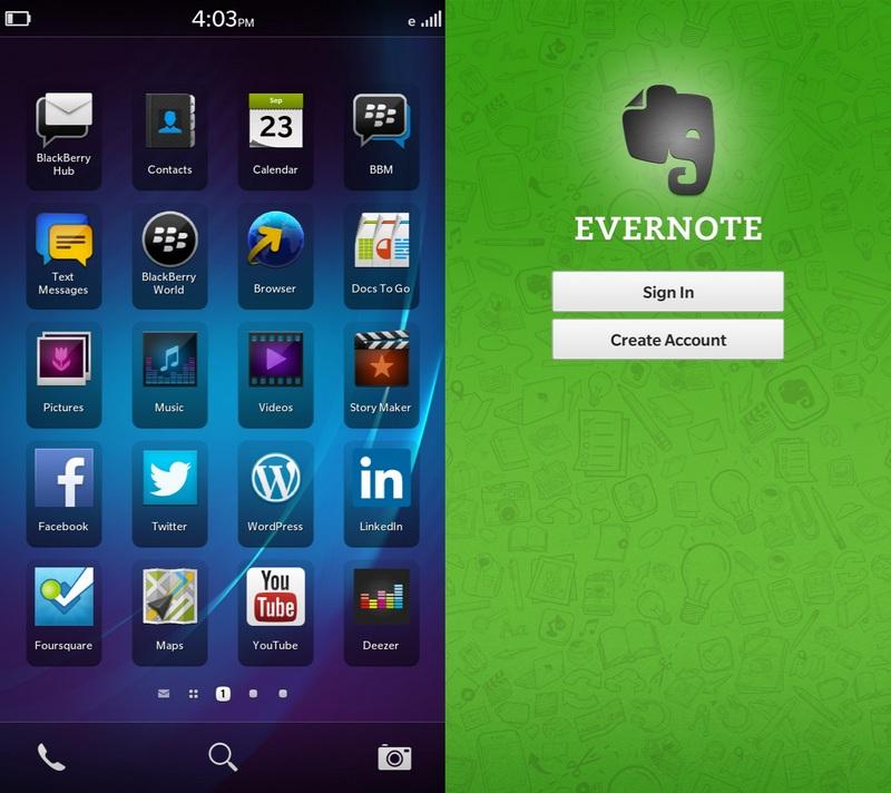 evernote native bb10 app