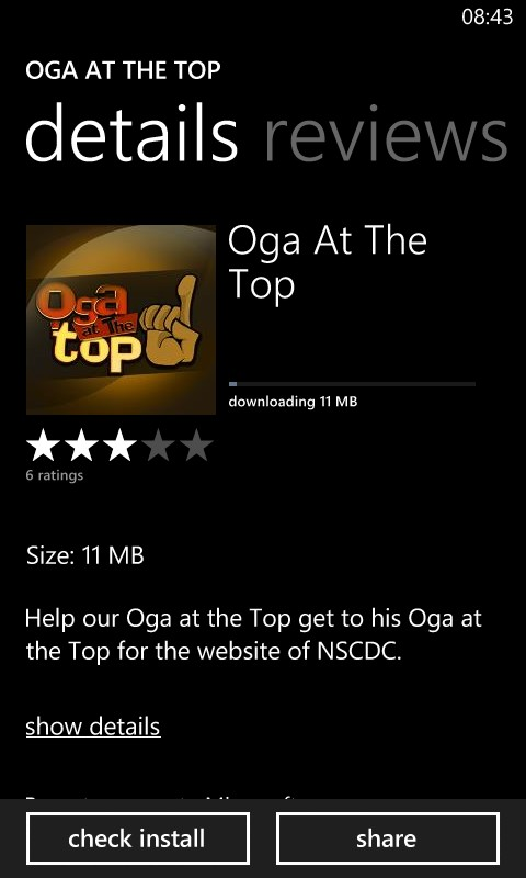oga at the top windows phone