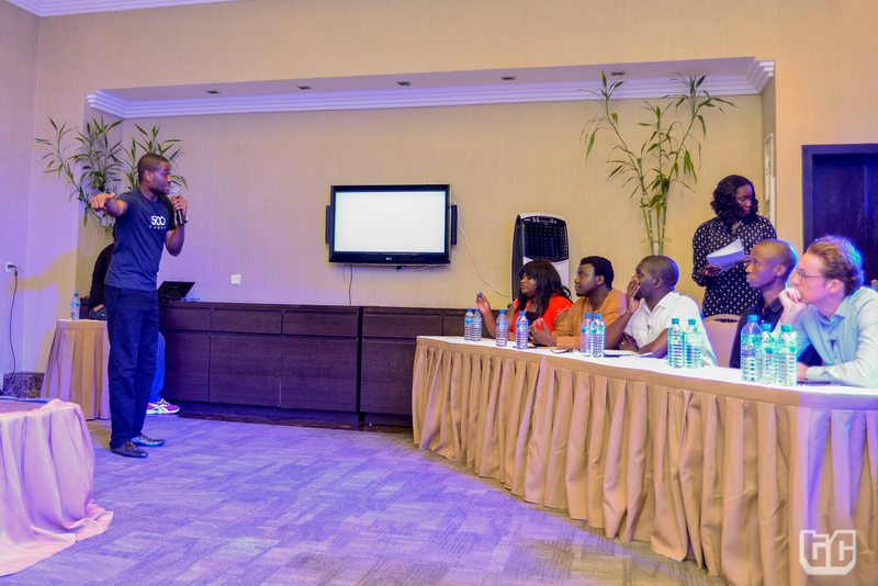 Finale_8- Clive Ayonye of 500Shops pitching to the judges and audience