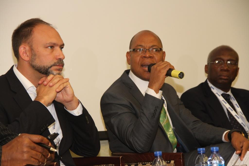 L-R: Founder, Praekelt Foundation, Mr Gustav Praekelt; Director, Business Segment, Etisalat Nigeria, Mr Lucas Dada; and Chairman, Open Media Group, Dr Ernest Ndukwe; at the Etisalat Sponsored 2014 Mobile West Africa, held at Four Points by Sheraton Lagos, Victoria Island on Wednesday 14th May 2014