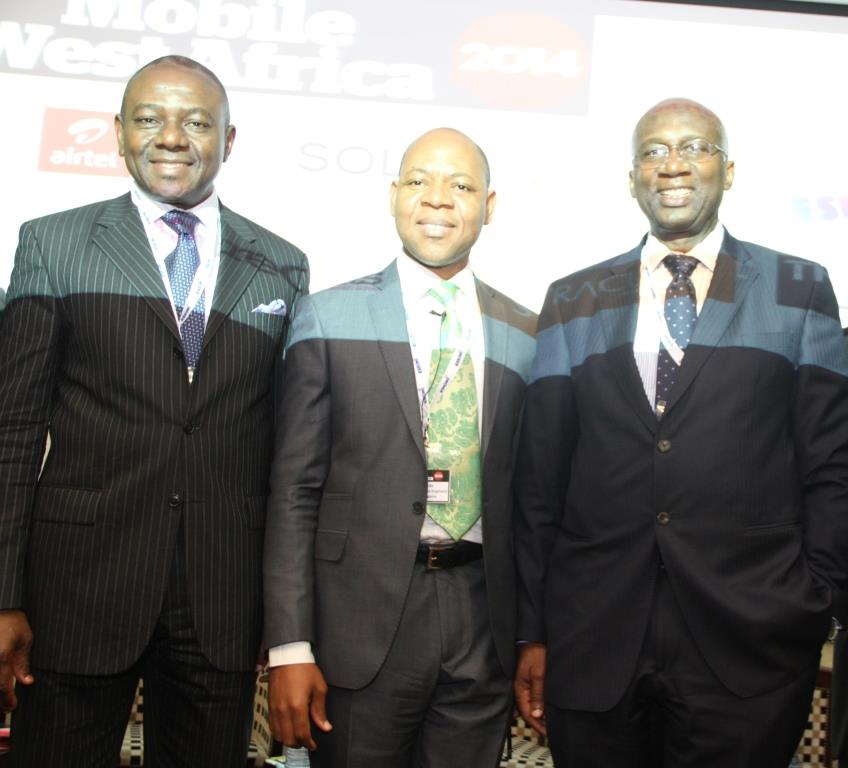 L-R: Executive Commissioner, Stakeholders Management, Nigerian Communications Commission, Dr Okechukwu Itanyi; Director, Business Segment, Etisalat Nigeria, and Mr Lucas Dada; and Chairman, OpenMedia Group, Dr Ernest Ndukwe; at the Etisalat Sponsored 2014 Mobile West Africa, held at Four Points by Sheraton Lagos, Victoria Island