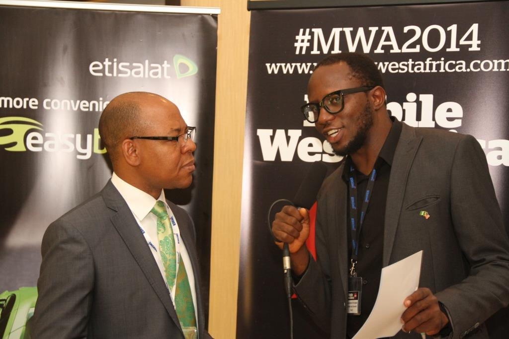 Director, Business Segments, Etisalat, Lucas Dada being interviewed after the Mobile West Africa 2014 Conference