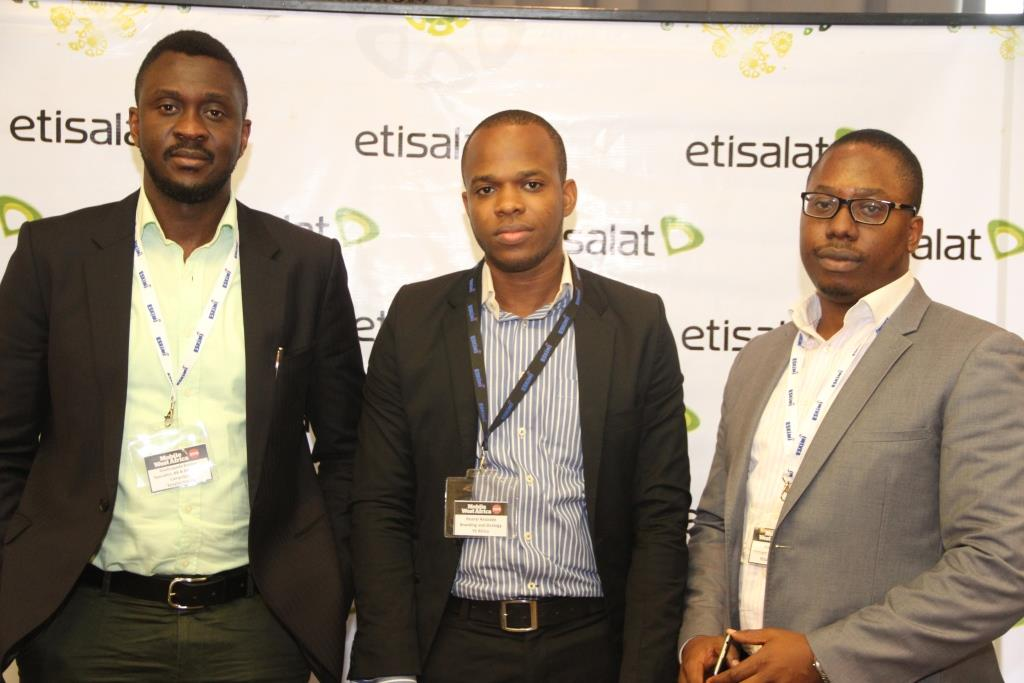 Specialist, Blackbery and Broadband Campaigns, Etisalat Nigeria, Doubrapade Koroye; Head, Branding and Strategy, YZ Africa, Ifeanyi Anazodo; and Manager, Data Marketing, Etisalat Nigeria, Bankole Alao; at the Etisalat Sponsored 2014 Mobile West Africa, held at Four Points by Sheraton Lagos, Victoria Island recently