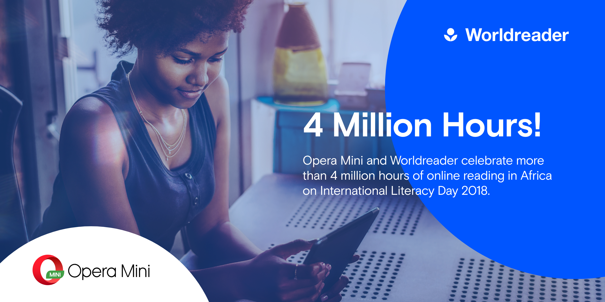 Opera Mini and Worldreader celebrate more than 4 million hours of online reading in Africa