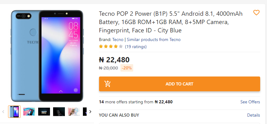 One of Tecno's most affordable offerings comes in at N22,480