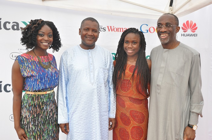 She Leads Africa Founders, Afua Osei (first left) and Yasmin Belo-Osagie (second right) pose for a photo with Aliko Dangote and on of the judges, Hakeem Belo-Osagie