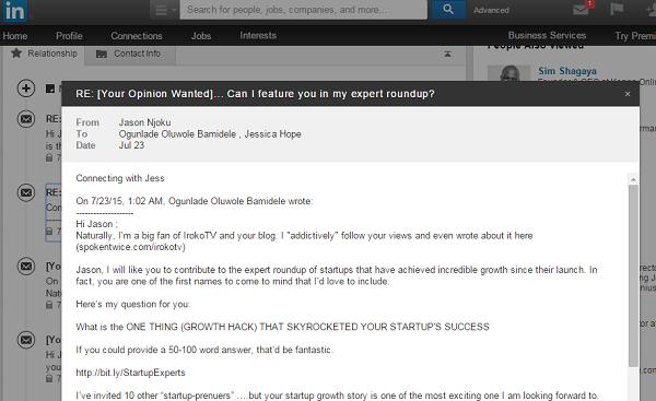 Jason Njoku LinkedIn response