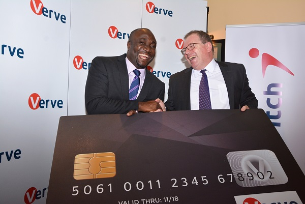 Charles Ifedi, Verve International CEO with Richard Coate Verve Country Manager (Kenya) hold a lifesize Verve card.  Verve International has launched the Verve card in the Kenya market