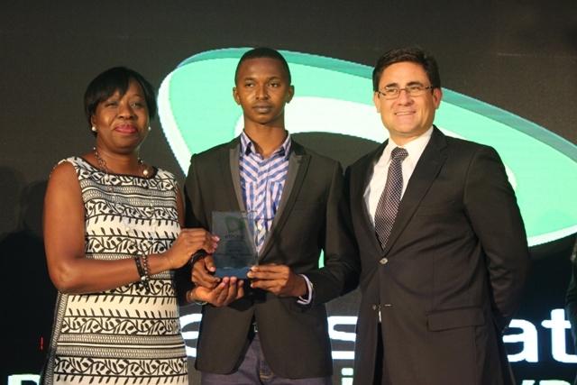 Funke Opeke, CEO Main One, Chijioke Ezegbo winner Innovative idea category and Matthew Willsher, CEO, Etisalat Nigeria