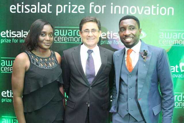 Modupe Thani, Head, Events and Sponsorship, Etisalat Nigeria, Matthew Willsher, CEO, Etisalat Nigeria and Timi Dakolo