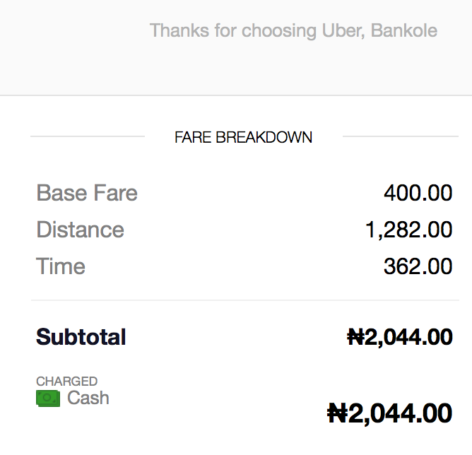 The return leg. I paid N2100, because no time.