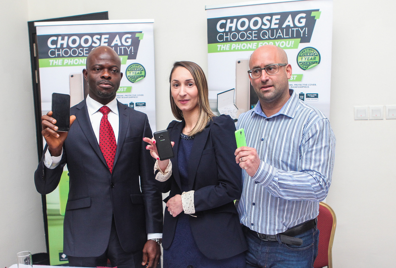 L-R:   BONI OBIEZE, CHIEF EXECUTIVE OFFICER, RINGO COMMUNICATIONS, TAYSHIRA SANTAMARIA, EXECUTIVE HEAD OF MARKETING (GLOBAL), AG MOBILE, AND CRAIG HERR, SALES & PRODUCT MANAGER, AG MOBILE, DURING THE MEDIA LAUNCH OF AG MOBILE IN NIGERIA, WEDNESDAY, FEBRUARY 3, 2015.