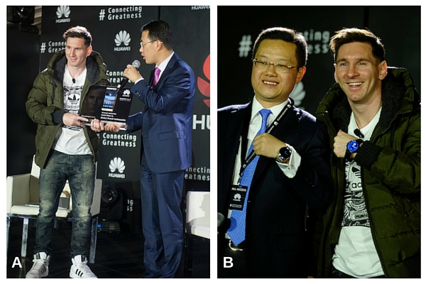 A: Kevin Ho, President, Handset Business, Huawei Consumer BG presenting Mate 8 to Lionel Messi. B: Tyrone Liu, CEO Consumer Business Group for Huawei Latin America displaying Huawei watch as a gift to Lionel Messi.