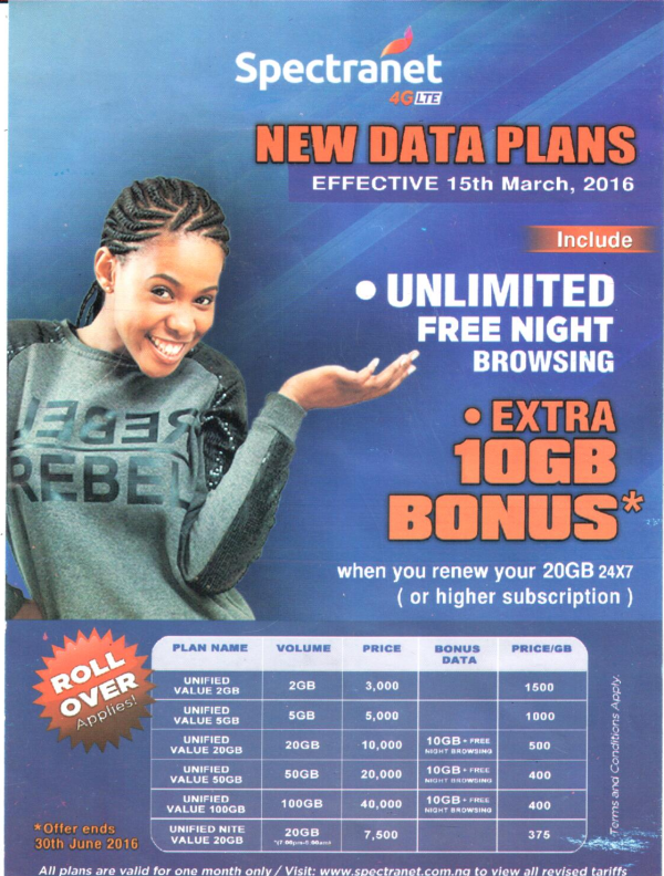 Spectranet introduces unified tariff with unlimited free night browsing, extra 10GB