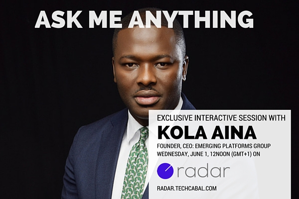 Kola Aina, CEO of Emerging Platforms Group is holding an AMA next Wednesday on Radar