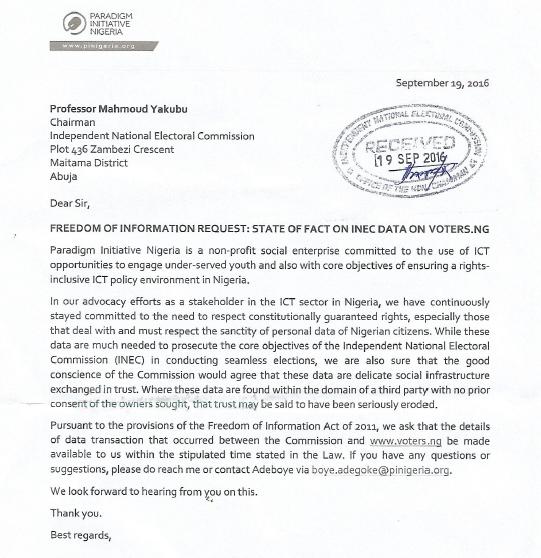 paradigm initiative nigeria has sent an foi request to inec over the