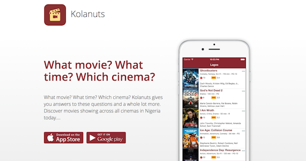 Kolanuts.ng aggregates movie showtimes from cinemas across Nigeria