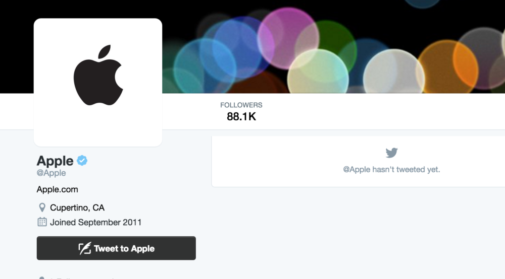 Apple has activated its dormant Twitter account, but hasn't tweeted anything yet