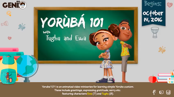 Genii Games' animated series, Yoruba 101 is starting in October