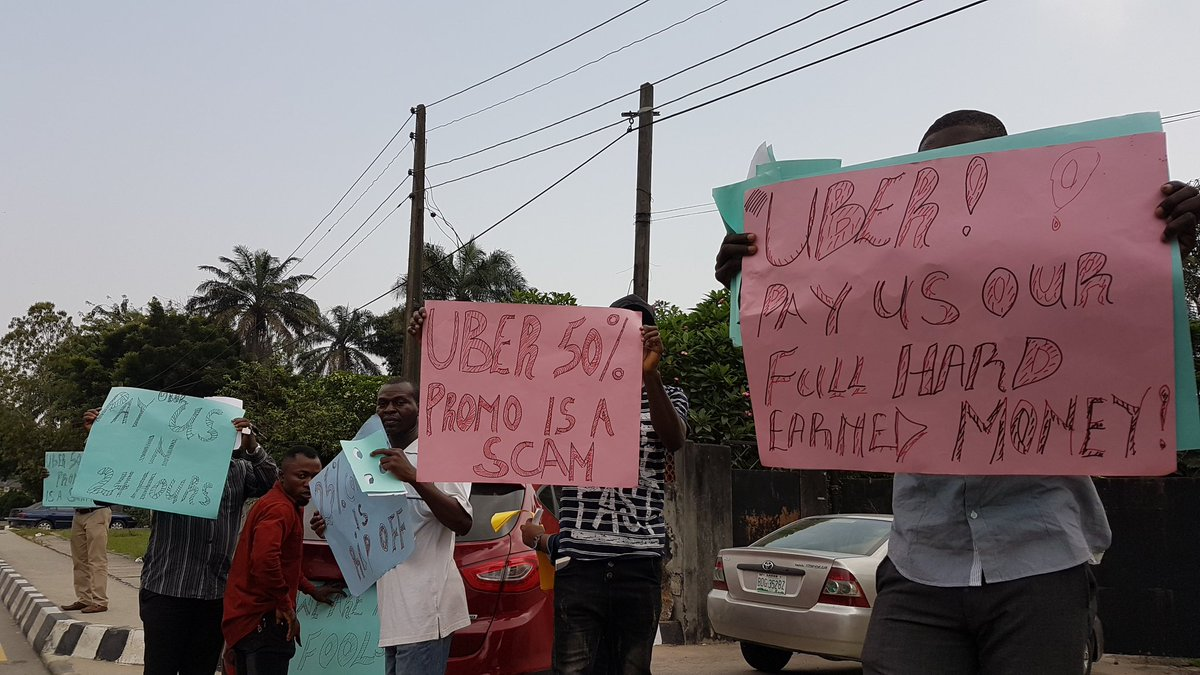 Uber drivers in Lagos are currently protesting reduced earnings