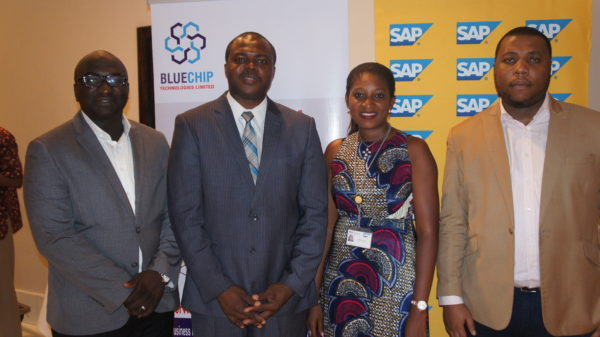From L-R: Tope Ojo (Chief Delivery Officer, Bluechip), Aderinola Oloruntoye (Head of Innovation, SAP West Africa), Ugocho Agoreyo (Senior Partner Manager, SAP ) and Olumide Soyombo (Partner & Co-Founder, Bluechip Technologies).