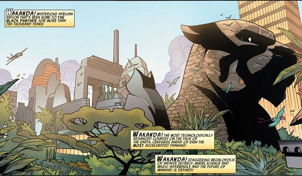 The Black Panther statue in the comics