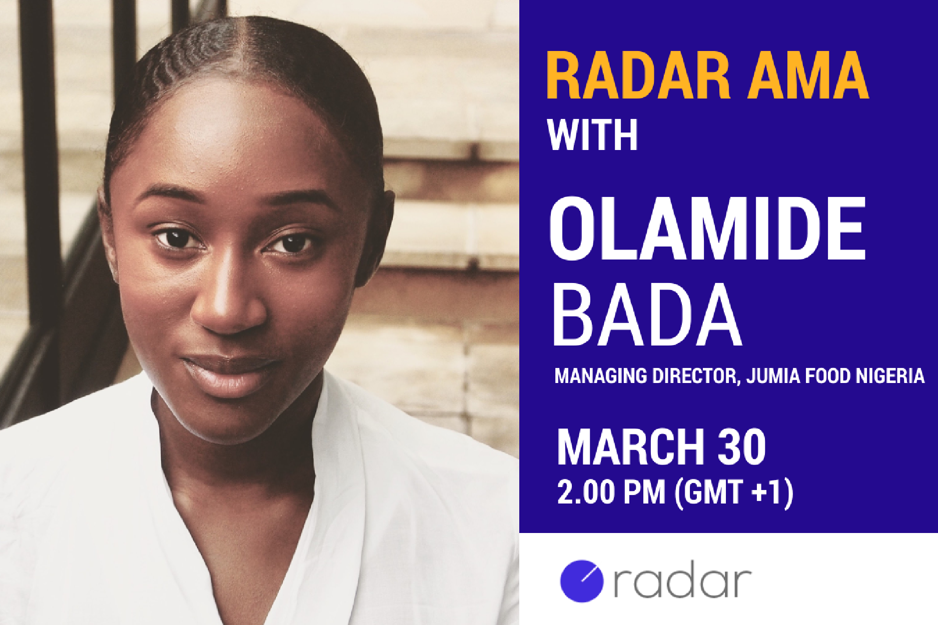 Join us for an AMA with Olamide Bada, Managing Director of Jumia Food Nigeria, this Thursday at 2pm