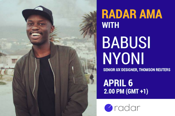 Come talk all things Artificial Intelligence and UX design with Babusi Nyoni on Radar this Thursday
