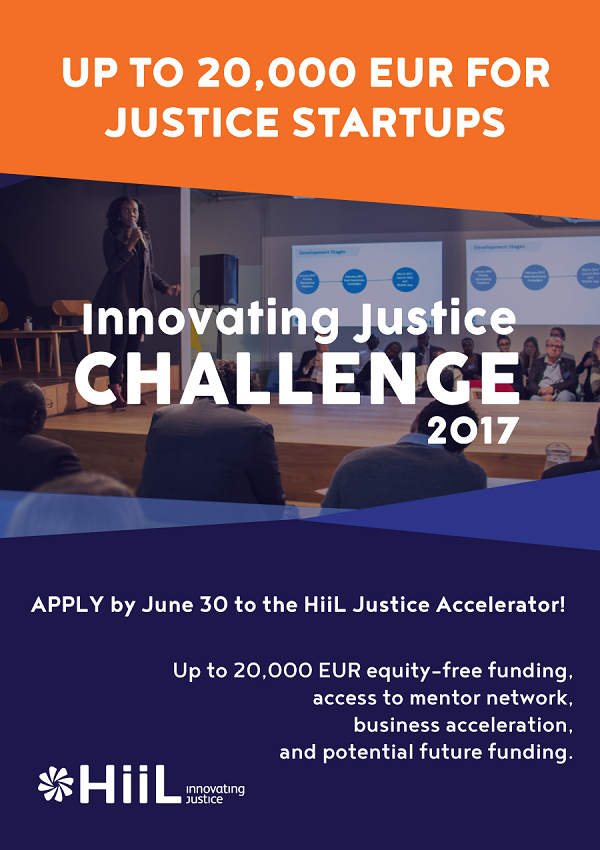 HiiL offers up to 20,000 EUR plus business support for justice innovators