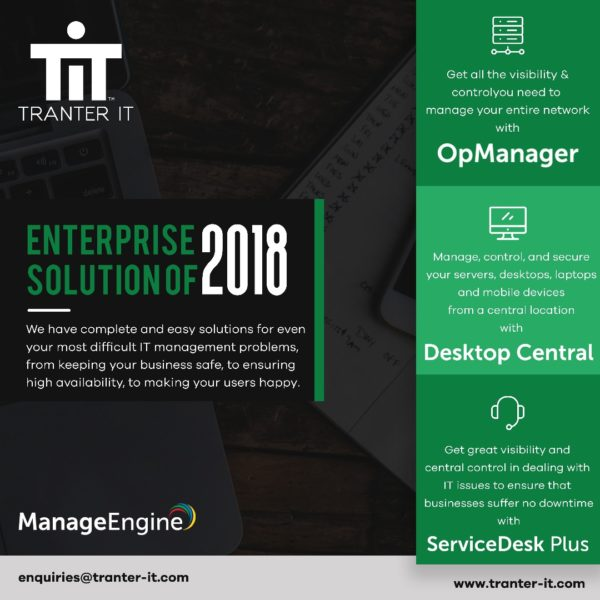 Tranter IT partners with Manage Engine to change the face of IT Management